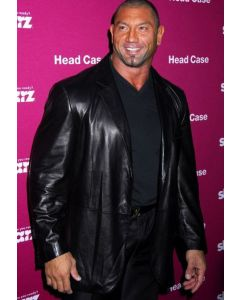 dave batista leather coat front