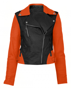 women black and orange jacket front