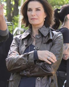 Sela Ward leather coat front