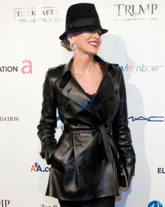 Sharon Stone leather coat front