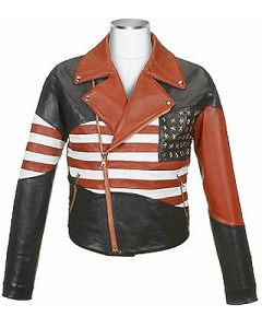 mens flag leather jacket front