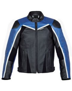 Mens Hand-made Black And Blue Racing Biker Leather Jacket