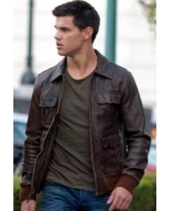 Taylor Lautner brown jacket front