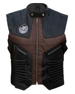 Movie Captain America Hawkeye Jeremy Renner Leather Vest