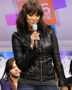 Tyra Banks black jacket front