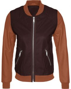 women brown and tan jacket