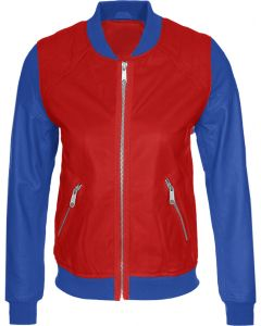 women blue and red jacket front