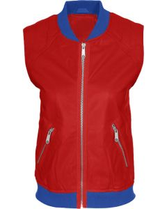 women blue and red vest front