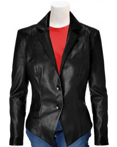 women black leather coat front