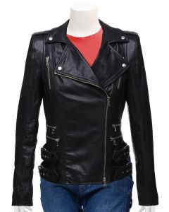 ladies black leather jacket front