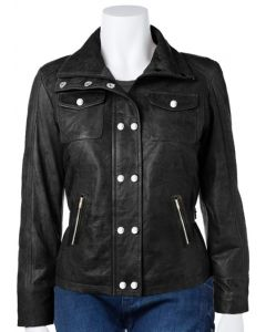 women studded black leather jacket front