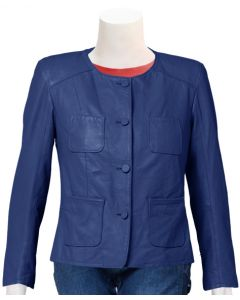 ladies blue leather jacket front