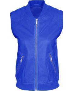 women blue vest front