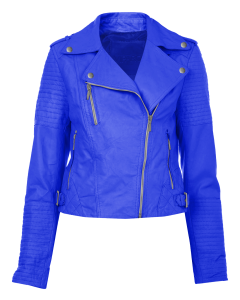 women blue jacket front