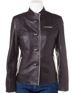 ladies black leather coat front