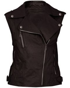women brown leather vest front