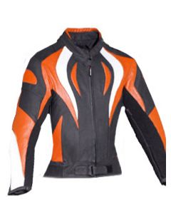 women fire style orange jacket