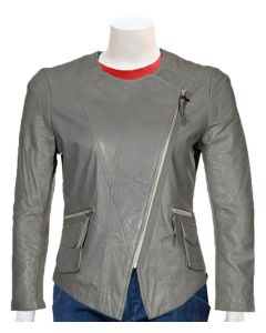 womens grey leather jacket front