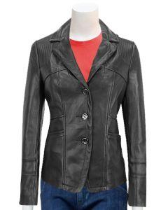 ladies black blazer leather coat front