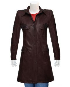 ladies brown leather coat front