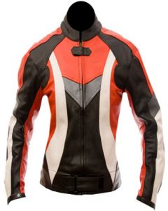 women motorbike red leather jacket
