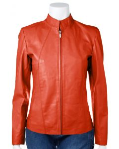women orange leather jacket front