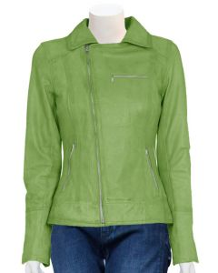 women parrot green leather jacket front