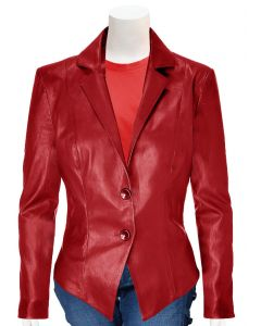 ladies red leather coat front
