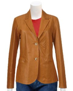 ladies tan leather coat front