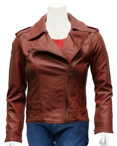 women tan leather jacket front