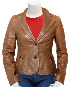 women tan leather coat front