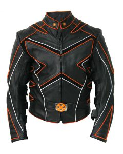 Film X-Men Orange n Black Leather Jacket